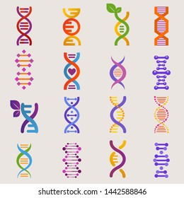 DNA genetic sign with genome or gene in biology medical research and DNAse or DNAbinding structure illustration set isolated on white background