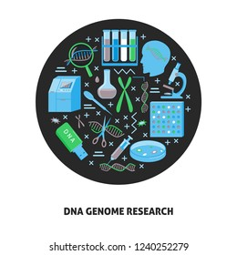 DNA genome research round concept in flat style. Genetic testing and laboratory equipment symbols. Medical banner or poster template.
