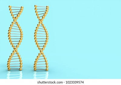DNA golden ribbon on blue and space for text and design. Science concept 3d illustration
