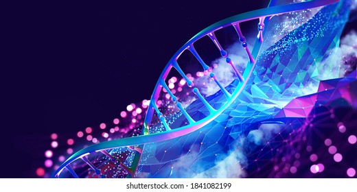DNA helix 3D illustration. Mutations under microscope. Decoding genome. Virtual modeling of chemical processes. Hi-tech in medicine