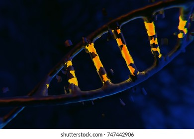 DNA Helix, DNA background, strand sequencing, genome sequencing, genome mutation concept, helix mutation  3D render