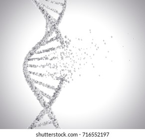 DNA helix break, molecule or atom, Abstract structure for Science or medical background, 3d illustration.