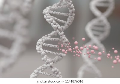 DNA helix break or Replace for concept of Genetic engineering and gene manipulation, molecule or atom, Abstract structure for Science or medical background, 3d illustration.