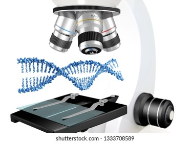 DNA helix floating over the slide of microscope, 3d illustration