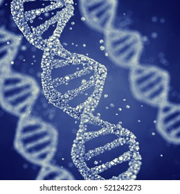 Dna helix , Gene mutation , Genetics  , 3d illustration