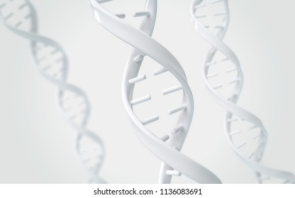 DNA helix of Genetic engineering and gene manipulation, molecule or atom, Abstract structure for Science or medical background, 3d illustration.