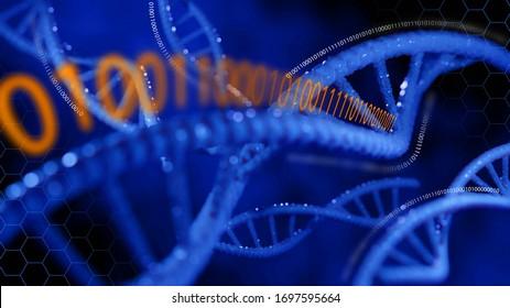DNA helix molecule. Biochemistry concept. 3D rendering.