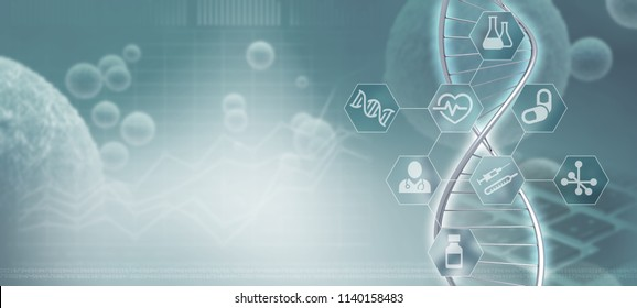DNA helix strand and infographic in a blue-grey background, 3d illustration