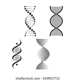 DNA icon set. Chromosome strand symbol design