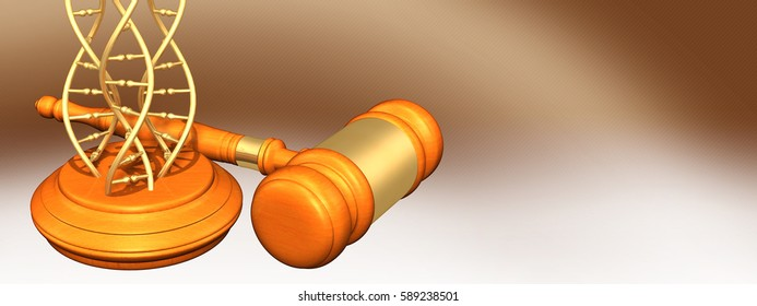 DNA Legal Gavel Concept 3D Illustration