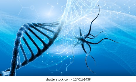 dna and medical and technology background. futuristic molecule virus structure presentation
