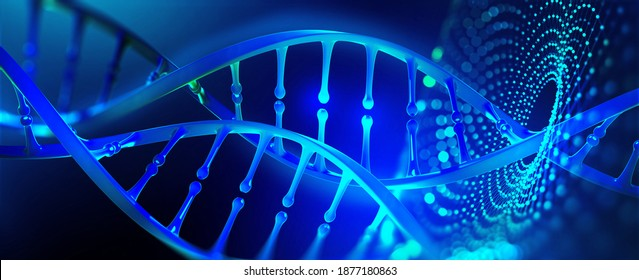 DNA model 3D illustration. Genetic engineering, genome decoding. Medicine, biology, chemistry and molecular research
