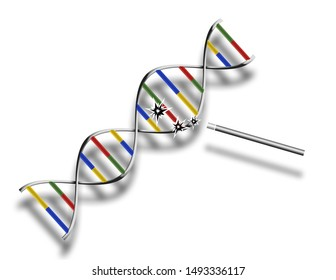 DNA modification. Sci - fi composition. 3D rendering