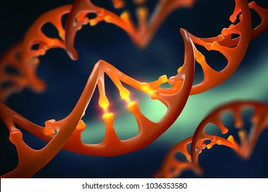 DNA molecule. Genetic modification. Study of the structure of the human genome. 3D illustration on biotechnology