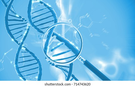 DNA molecule, genetics research concept, 3d rendering