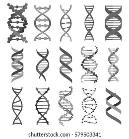 DNA molecule sign set, genetic elements and icons collection strand. Graphic illustration
