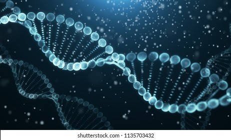 DNA molecule structure.Science concept and colour  background 3d