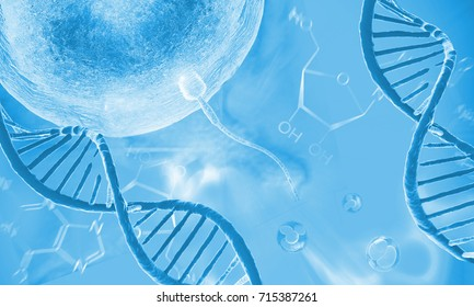 DNA molecule,cells and ovulation.Genetics research concept. 3d rendering