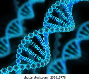 DNA molecules with binary code, 3d render, dark background
