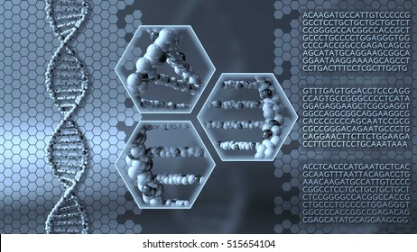DNA molecules blue background. Genetic research, medical laboratory or molecular diagnostics concepts. 3D rendering