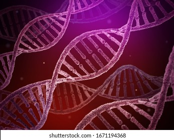 DNA molecules in an electron microscope. Science background. 3D illustration.