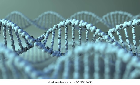 DNA molecules. Gene, genetic research or modern medicine concepts. 3D rendering