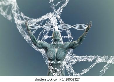 DNA molecules and men in 3D illustration.