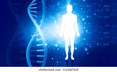 DNA molecules and men. Futuristic science. 3d illustration