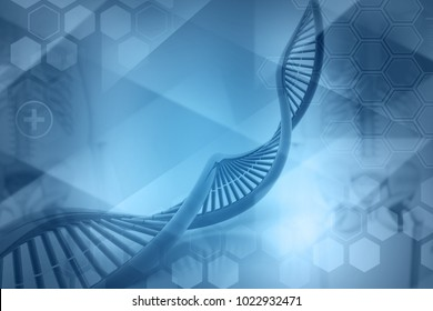 DNA molecules on blue background. 3d illustration