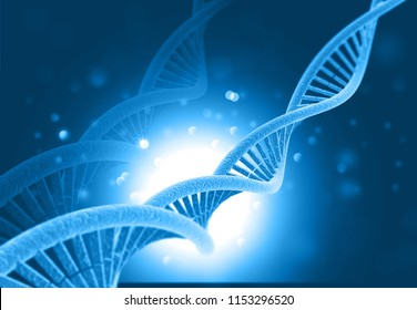 DNA molecules on blue background. 3d illustration