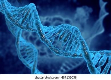 DNA molecules on medical background in 3D illustration.