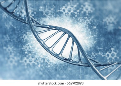 DNA molecules on medical background in 3D illustration.