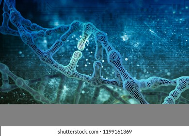 DNA molecules on science background in 3D illustration.