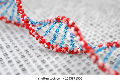DNA molecules, structure of the genetic code, 3d rendering,conceptual image.