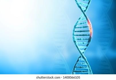 DNA mutations or  genetic disorer concept background. 3d illustration