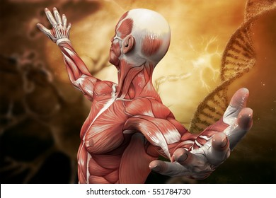 DNA, neurons molecule and man  on the art background. 3D illustration