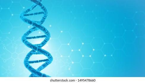 DNA on scientific background. 3d illustration
