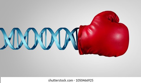DNA power of genes and genetic chromosome medical concept as a bioscience healing and treatment of disease using immunotherapy with 3D illustration elements.