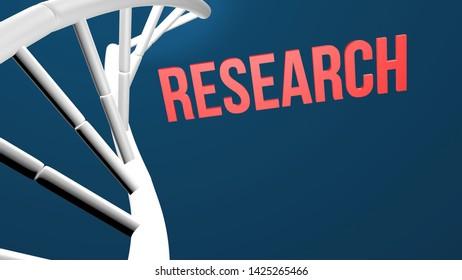 DNA research concept 3d render illustration