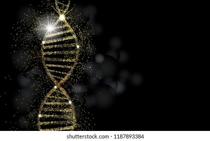 DNA sequence, DNA code structure with gold glow. Science concept background. Nano technology. Black background with space for text.