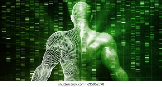 DNA Sequencing or Sequence as a Science Abstract 3D Illustration Render