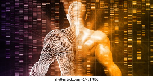DNA Sequencing or Sequence as a Science Abstract 3D Render