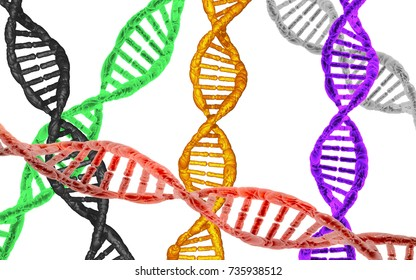 DNA in six colors, white background.