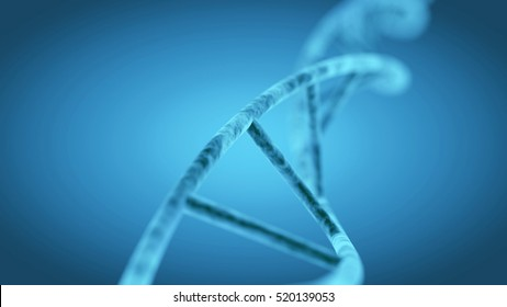 DNA spiral revolving in 3d space. Blue abstract medicine, science and technology background illustration. Depth of field settings. 3d rendering.