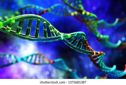 DNA spiral, RNA, scientific background, 3d rendering