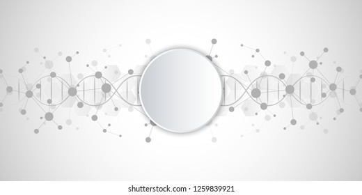 DNA strand and molecular structure. Genetic engineering or laboratory research. Background texture for medical or scientific and technological design