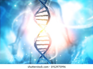 DNA strand on abstract background. 3d illustration