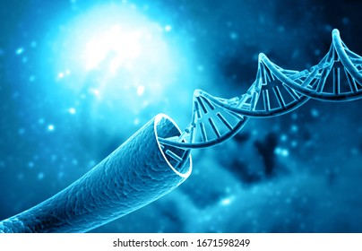 DNA strand on science background. 3d illustration