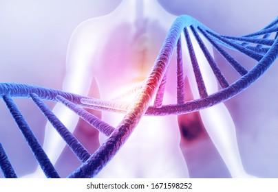 DNA strand on science background. 3d illustration