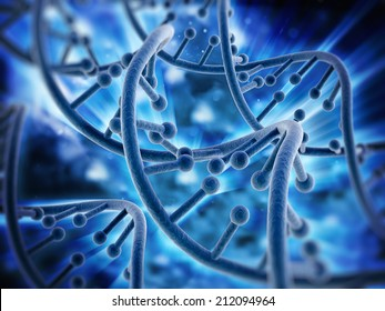 DNA strands background with blue color tones.